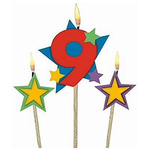 Numeral #9 Star Birthday Pick Candle