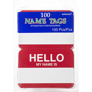 """Hello My Name Is"" Red Name Tags"
