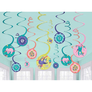 12 Ct Sloth Spiral Party Decoration Pack