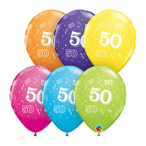 "11"" 50-A-Round Assorted Latex Balloon"