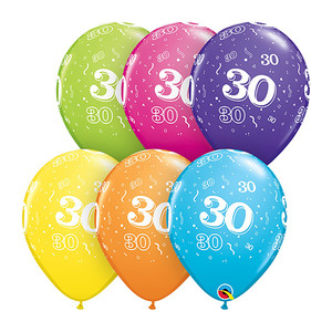 "11"" 30-A-Round Assorted Latex Balloons"