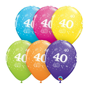 "11"" 40-A-Round Assorted Latex Balloon"