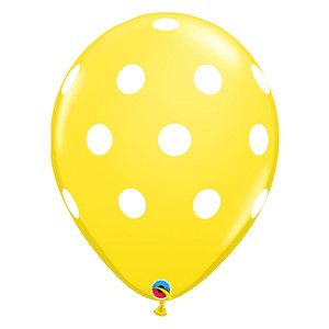 "11"" Big Polka Dots Latex Balloons - Yellow"