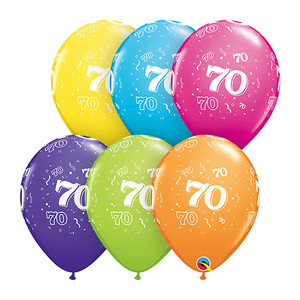 "11"" 70-A-Round Assorted Latex Balloon"