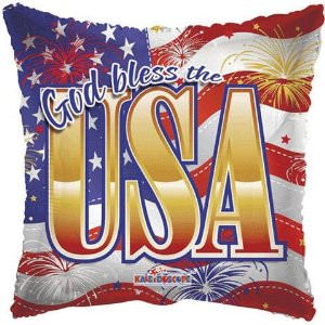 18 Inch Square God Bless USA Balloon