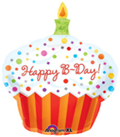 Super Shape Foil Happy Birthday Cupcake Balloon
