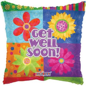 18 Inch Get Well Floral Blocks Balloon