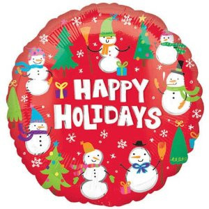 18 in. Happy Holidays Snowmen VLP Balloon