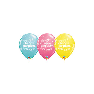 "11"" Qualatex Birthday Pennants and Dots Latex Balloons"