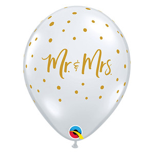 "11"" Mr. and Mrs. Dots Clear Latex Balloons"