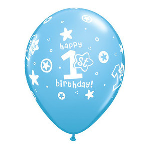 "11"" Qualatex First Birthday Boy Latex Balloons"