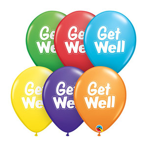 "11"" Qualatex Get Well Dashed Outline Assorted Latex Balloons"