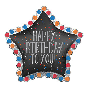 "34"" Happy Birthday To You Star Foil Balloon"