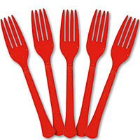 Red Apple Plastic Forks -  24 ct.