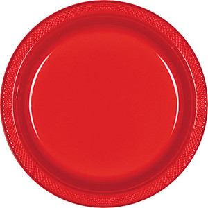 "Red Apple 9"" Plastic Lunch Plates - 20 ct."