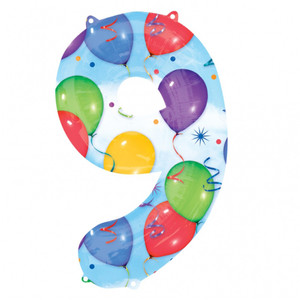 9 Number Shaped Balloons And Streamers Foil Balloon