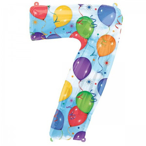 7 Number Shaped Balloons And Streamers Foil Balloon
