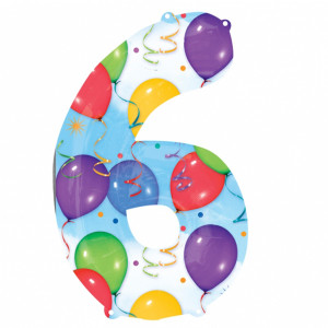 6 Number Shaped Balloons And Streamers Foil Balloon