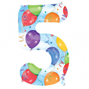 5 Number Shaped Balloons And Streamers Foil Balloon