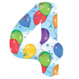4 Number Shaped Balloons And Streamers Foil Balloon