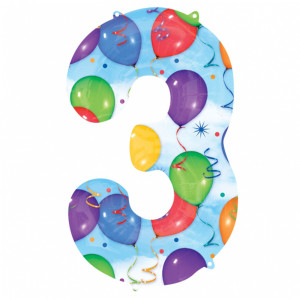 3 Number Shaped Balloons And Streamers Foil Balloon