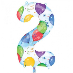 2 Number Shaped Balloons And Streamers Foil Balloon