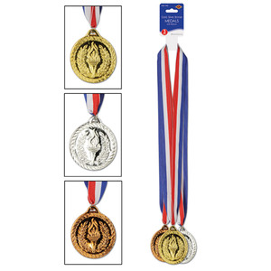 Gold, Silver & Bronze Medals With Ribbon
