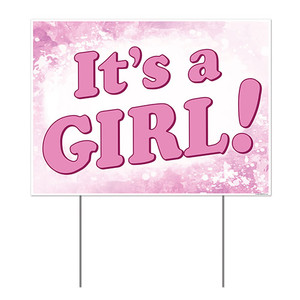 Plastic It's A Girl! Yard Sign