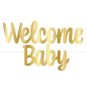 Welcome Baby Foil Streamer - Gold