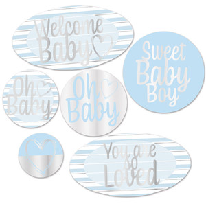 Welcome Baby Foil Cutouts - Blue, White And Silver
