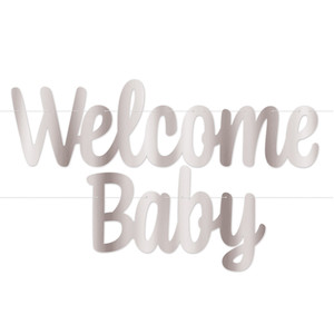 Welcome Baby Foil Streamer - Silver