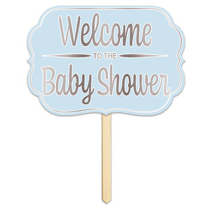 Welcome To The Baby Shower Foil Yard Sign - Blue