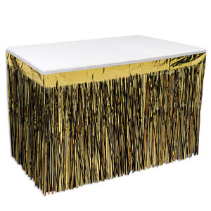 Packaged Black & Gold 2-Ply Metallic Table Skirting