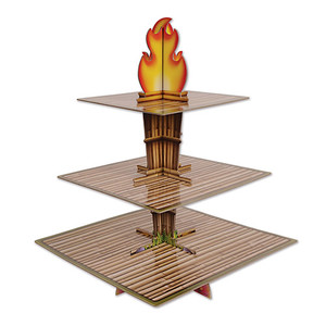 "Tiki Torch Cupcake Stand Cake Holder Display, 15.25"" x 11.25"", Brown/Tan/Orange/Yellow"