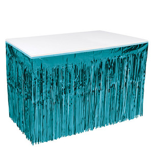 "1-Ply Metallic Plastic Fringe Skirt for Rectangle Tables, 30"" x 14', Turquoise"