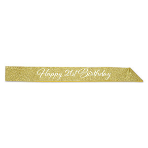 "Glittered Happy 21st Birthday Sash, 32.5"" x 3.5"", Gold/White"