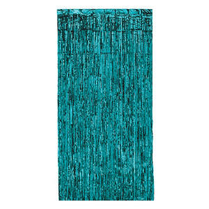 1-Ply Metallic Plastic Fringe Gleam 'N Curtain Photo Booth Prop, 8' x 3', Turquoise