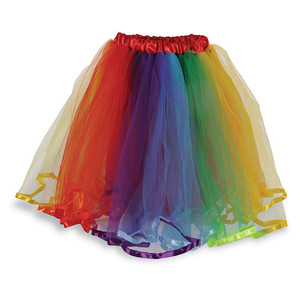 Rainbow Tutu Skirt Polyester Fabric Tulle, One Size, Red/Orange/Yellow/Green/Blue/Purple