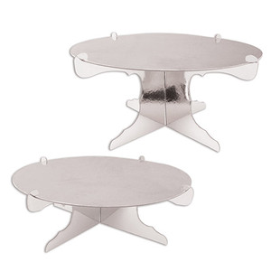 "2 Piece Durable Metallic Cake Stands Cupcake Holder, 4""-6"" x 12.5"", Silver"