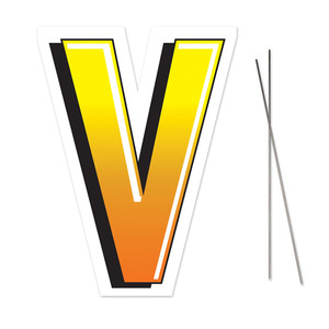 Letter V Yard Sign With Metal Stakes