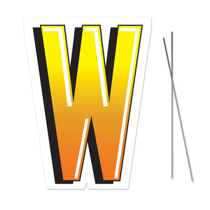 Letter W Yard Sign With Metal Stakes