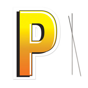 Letter P Yard Sign With Metal Stakes