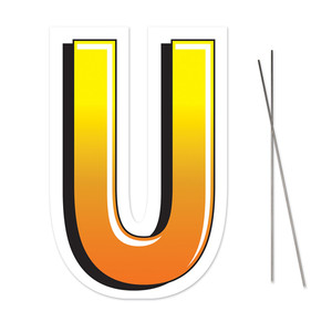 Letter U Yard Sign With Metal Stakes