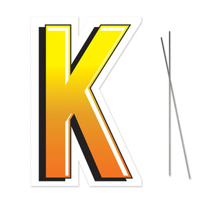 Letter K Yard Sign With Metal Stakes