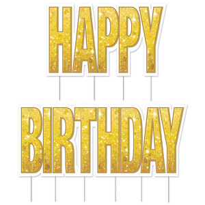 Plastic Jumbo Happy Birthday Yard Sign With Metal Stakes, Gold
