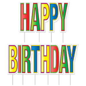 Plastic Jumbo Happy Birthday Yard Sign Set With Metal Stakes, Multi-Color