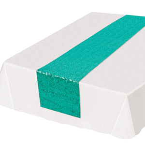 Turquoise Rectangular Shiny Sequined Table Runner