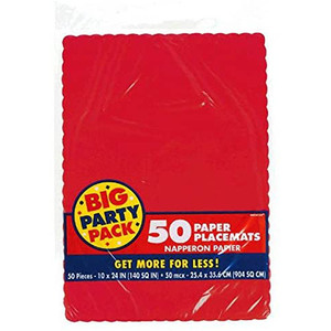 50 CT Apple Red Paper Placemats Big Party Pack