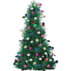 Green Tinsel Christmas Tree Centerpiece With Foil Ornaments