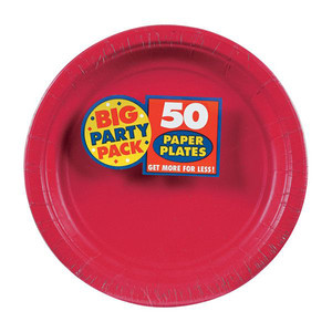 Apple Red Round Paper Plates Big Party Pack
